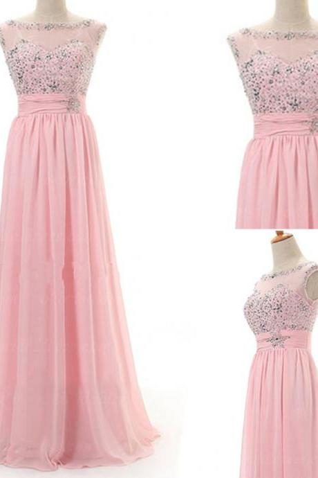 Pink Long Prom Dresses,Chiffon Prom Gowns,Pink Prom Dresses ,Beaded Party Dresses,Long Prom Gown,Beading Prom Dress