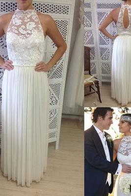 Halter Sheer Lace Chiffon A-line Floor-Length Wedding Dress, Bridal Gown