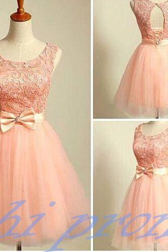 Blush Pink Homecoming Dress,Short Tulle Prom Dresses,Homecoming Gowns With Bow,Homecoming Dresses,Winter Formal Dresses,Lace Graduation Dresses,Sweet 16 Gown