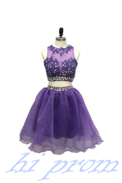 Grape Homecoming Dress,2 Piece Homecoming Dresses,Beading Homecoming Gowns,Short Prom Gown,Modest Sweet 16 Dress,Lace Homecoming Dress,2 pieces Cocktail Dress,Two Pieces Evening Gowns