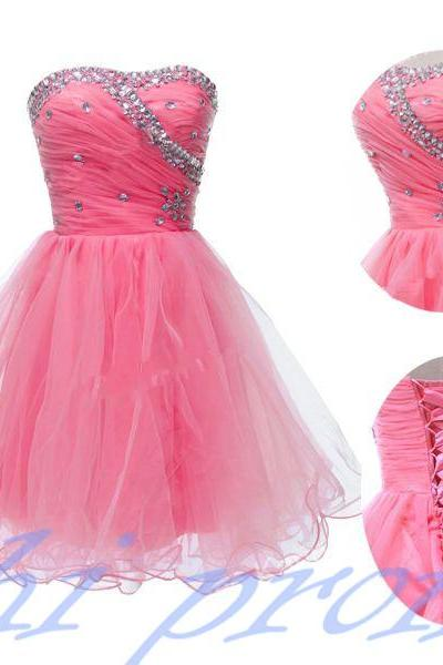 Pink Homecoming Dress,Short Prom Dresses,Tulle Homecoming Gowns,Strapless Prom Gown,Elegant Cocktail Dress,Fitted Sweet 16 Dress For Teens