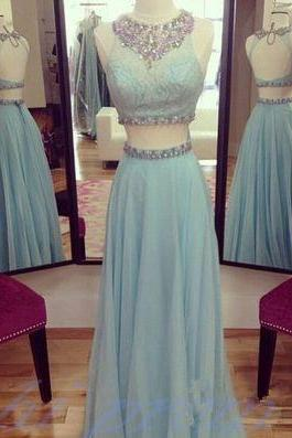 Light Blue Prom Dresses, 2 Piece Prom Gowns,2 pieces Prom Dresses,Open Backs Prom Dresses,Backless Prom Gown,Fashion Prom Dress With Chiffon Skirts