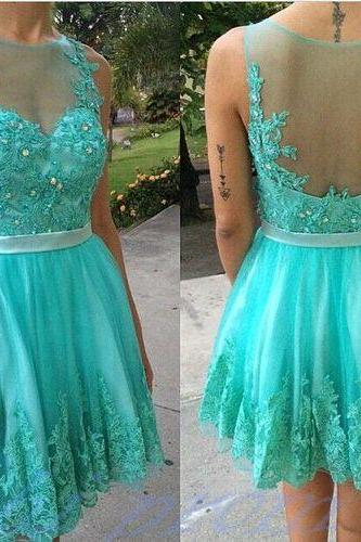 Turquoise Homecoming Dress With Lace Short Prom Gown,Backless Homecoming Gowns,Open Backs Homecoming Dress,Cute Homecoming Dresses,Evening Dress