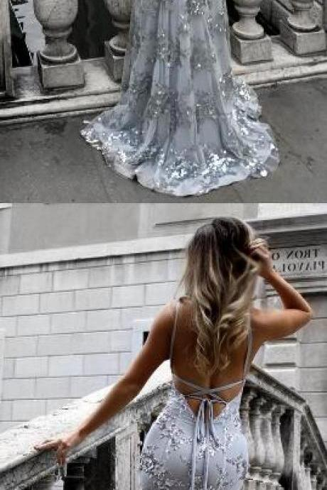 Sexy prom dress,Open Back Prom Dress,Cheap Prom Dress,Long prom dresses,silver evening gowns,silver prom dress,backless prom dress