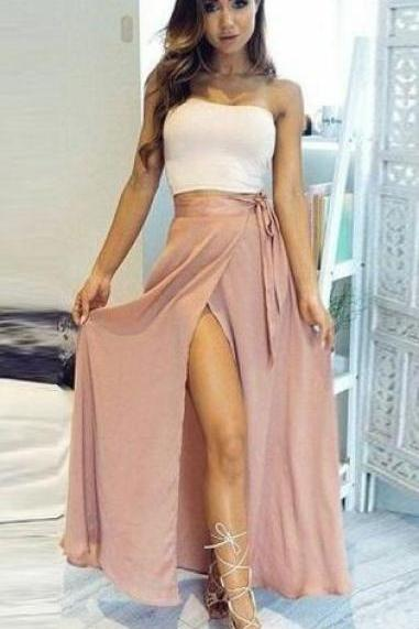 Two Piece Prom Dress,Simple Prom Dress,Sexy prom Dresses,Strapless Ankle-Length High Split Pink Chiffon Prom Dress