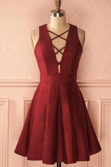 Sleeveless Homecoming Dress,Sexy A-Line Prom Dress,V-neck Short Homecoming Dress,Burgundy Short Homecoming Prom Dress