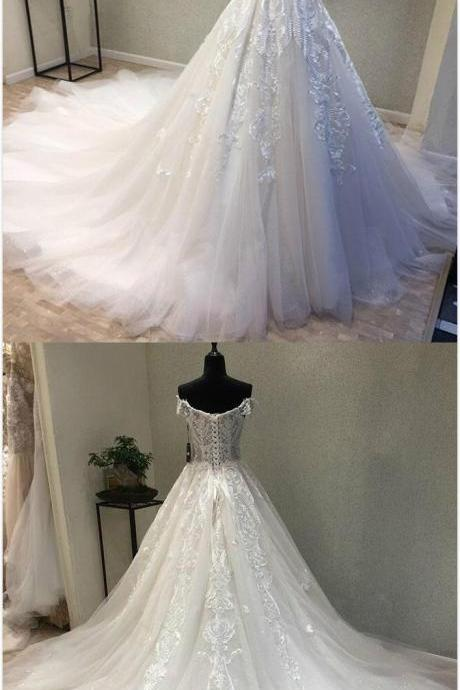 Elegant Off Shoulder Lace Wedding Dress,Tulle Bridal Gowns, Long White Wedding/Prom Dress,Mermaid Wedding Dress