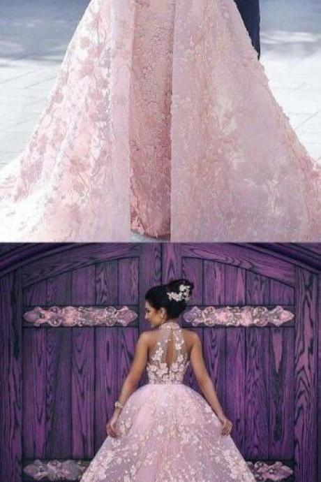 Sexy Prom Dress,Lace Prom Dress,Ball gown Evening Dress,Mermaid unique prom dresses,pink prom dresses,halter prom dresses,luxury prom dresses