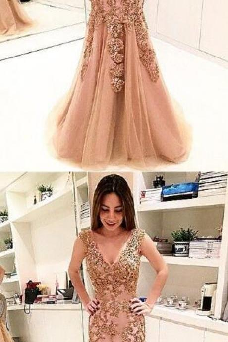 elegant long evening dress,Sexy V Neck PromDress,Beading Prom Dress,champagne mermaid prom dresses,Long formal dress for women,unique prom dress with appliques
