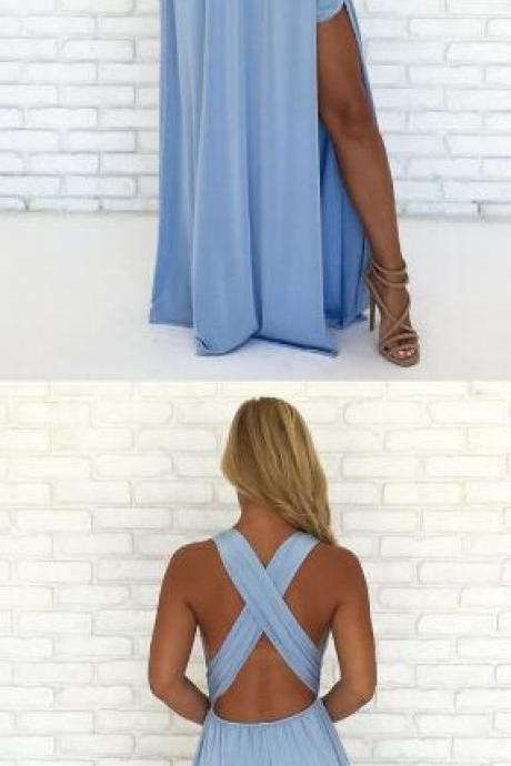 Simple Chiffon Prom Dress,V Neck Prom Dress,Cheap Prom Dress,Chiffon Prom Dress,Formal Dress,sexy split party gowns, criss cross back dress,maxi dresses