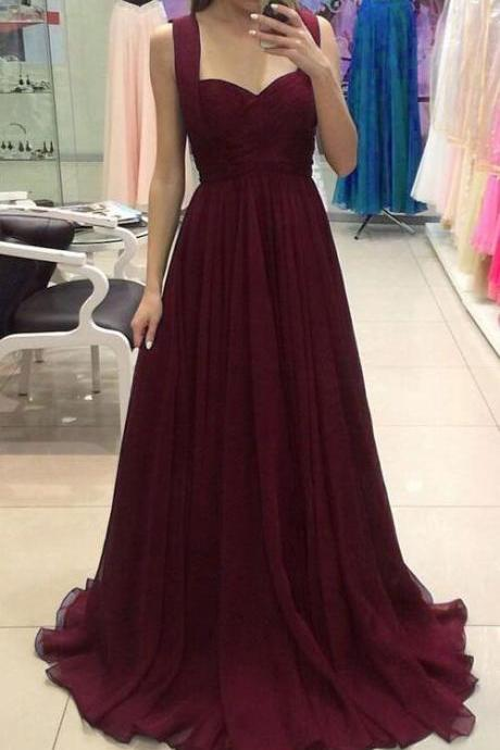 Long A-line Prom Dress,Floor-length Prom Dress,Burgundy Chiffon Prom Dresses ,Formal Gowns Simple Evening Dresses Sexy Party Dresses for Women