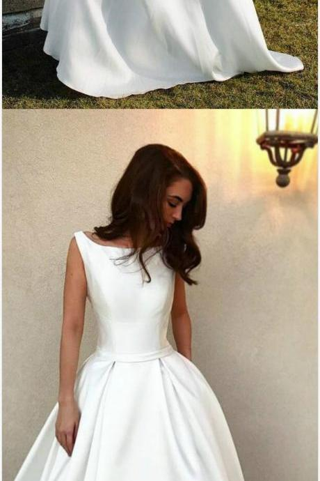 Elegant Scoop Prom Dresses ,Teens Graduation Party Dresses,Simple Prom Dress,White Satin Prom Dresses ,Long A-line Formal Gowns,Bridal gowns