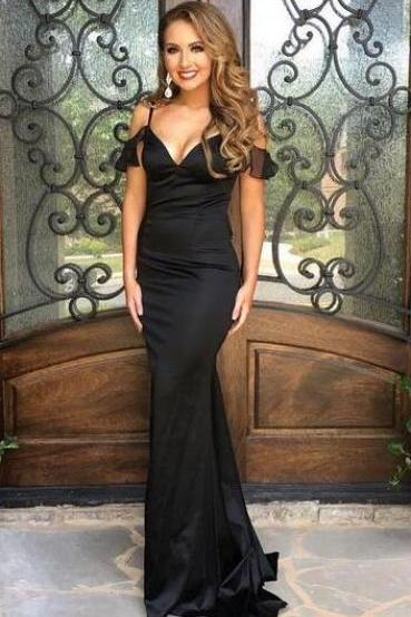 Off the Shoulder Sleeveless Prom Dress,Sexy Evening Dresses ,Black V Neck Prom Dress,Mermaid Satin Prom Dresses Formal Gowns Vestidos