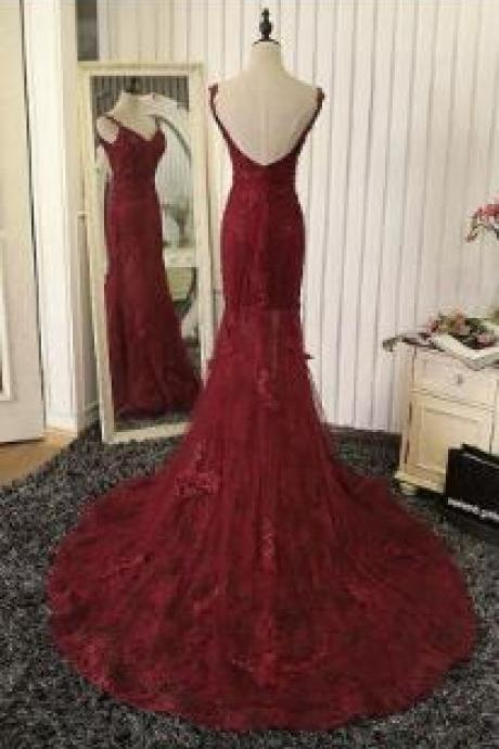 Spaghetti Strap Embroidery Lace Prom Dresses,A-line Prom Dress,Princess Prom Dress,Long Prom Dress,Chapel Train Dress