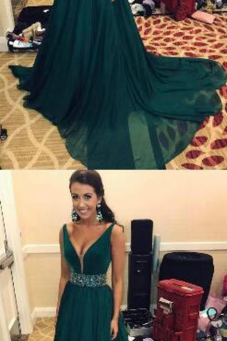 Chiffon Long Prom Dress,Dark Green Prom Dress,A-line Formal Gowns ,Elegant V Neck Evening Dresses, Teens Graduation Party Dress