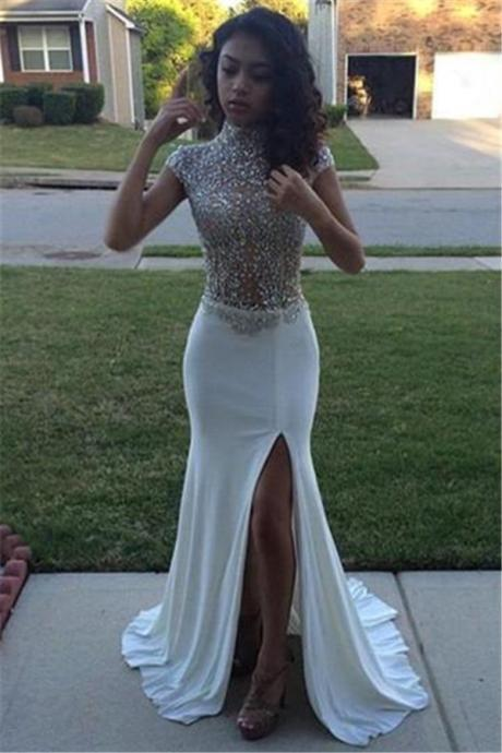 High Neck Beading Prom Dress,Sequins Prom Dresses, Cap Sleeves Prom Dress,Front Split Evening Gowns