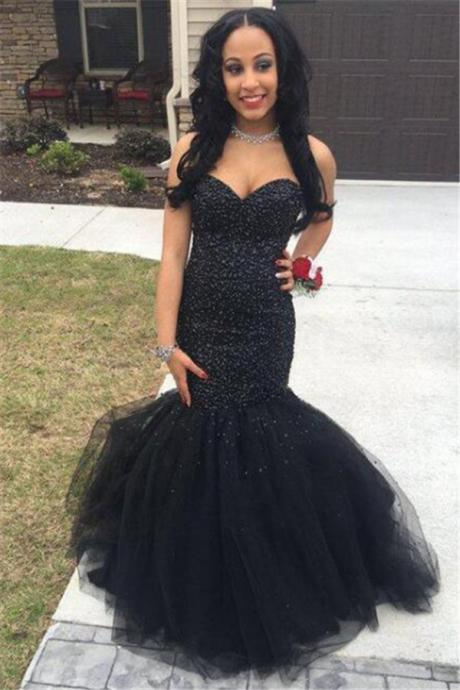 Sweetheart Mermaid Prom Dress,Black Tulle Prom Dresses, Sleeveless Prom Dress,Sexy Evening Gown