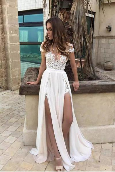 Short Sleeve Prom Dress,Lace Appliques Prom Dresses,Chiffon Elegant Prom Dress,Front Split A line Prom Dress