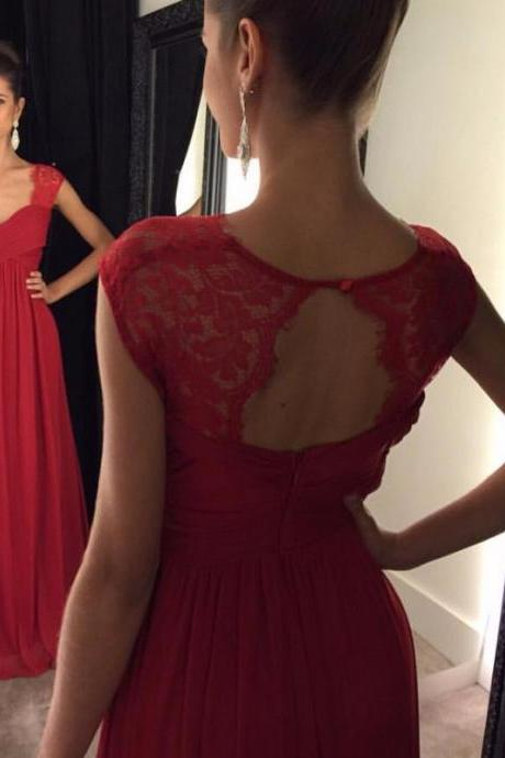 Formal Dress,A-line Lace Modest Prom Dress,Cap Sleeves Chiffon Prom Dress,Floor Length Red Prom Dresses