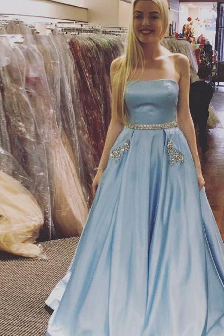 Crystals A-line Strapless Formal Dress,Newest Sleeveless Sky Blue Prom Dress