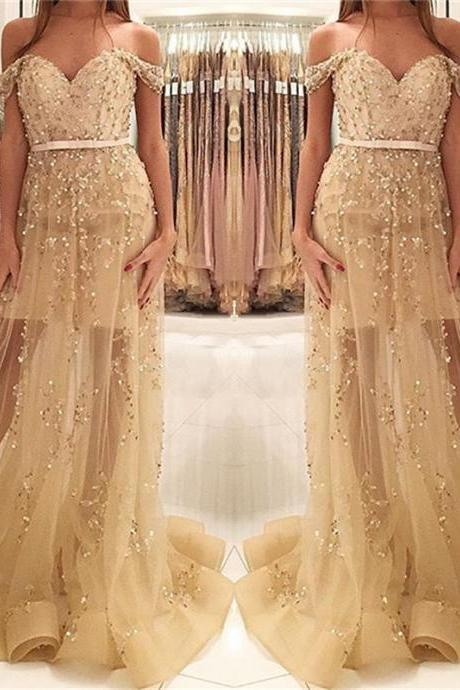 Champagne Gold Beads Prom Dress,Sequins Prom Dress, Off The Shoulder Prom Dresses,Illusion Evening Gown