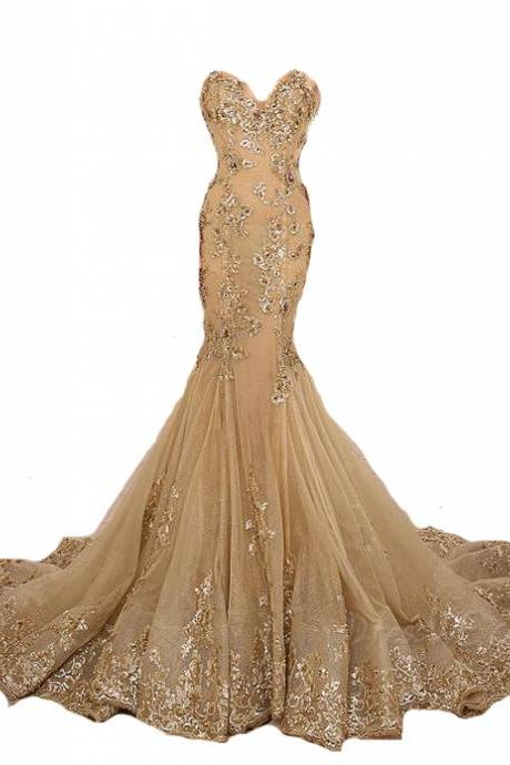 Mermaid Long Prom Dress,Evening Gown, Gold Lace Appliques Prom Dress,Gold Lace-Up Sweetheart Prom Dresses