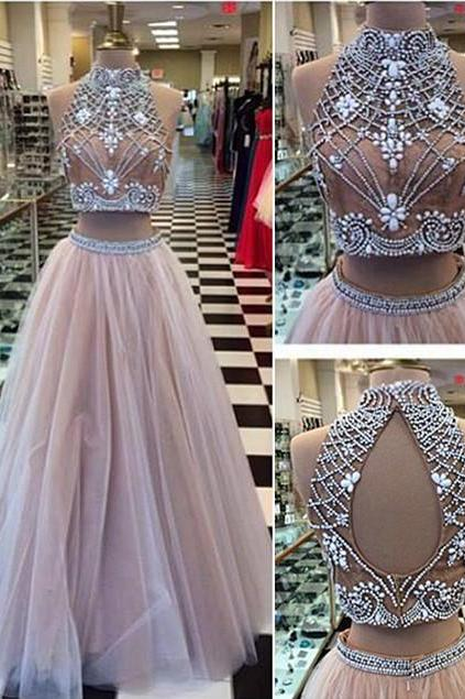 High Collar Two Piece Prom Dress,Tulle Evening Dress, with Beading Prom Dresses,A-Line Halter Long Prom Dress