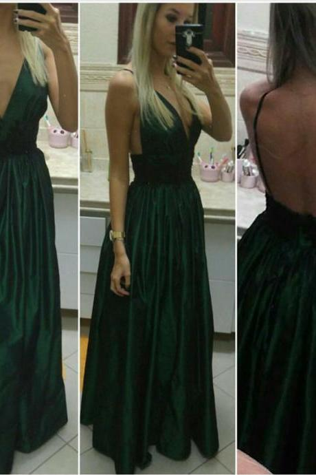 Long Taffeta Prom Dresses,Green Prom Dress, Backless Evening Gowns,V Neck Party Dress