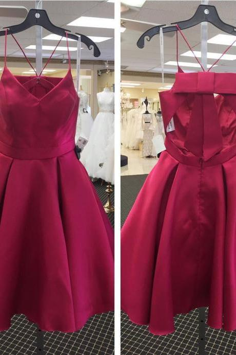 cute prom dress,short homecoming dress,bow back party dress,satin cocktail dress
