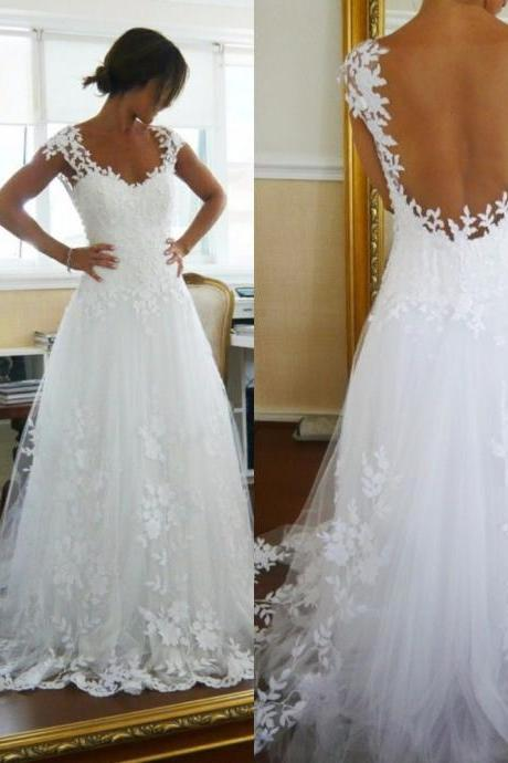 Tulle A-Line Garden Beach Wedding Dresses With Applique and Hand-Bead Low Open Back Bridal Gowns Sweep Train Cheap