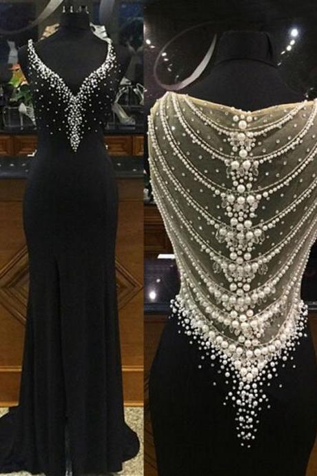 Side Slit Prom Dresses,Mermaid Prom Dresses,Long Pearls Prom Dresses,Black Prom Dresses,Chiffon Prom Dress,Long Chiffon Formal Gowns,Mermaid Evening Dresses