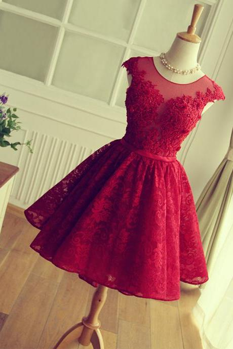 Keyhole Back Red Lace Bridesmaid dress,Short Lace Prom Dress,Red Cocktail Dress,Cap Sleeves Formal Party Dress