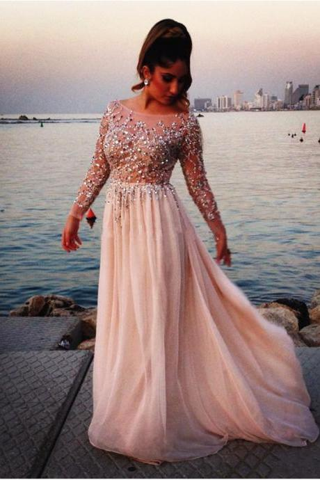 Chaming Prom Dresses,Scoop Prom Dress,Full Sleeve Prom Dress,Beaded Prom Dress,Floor length Prom Dress,Sheer Prom Dress,Sexy Prom Dress