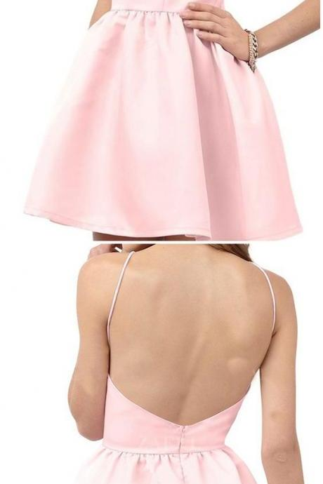 pink homecoming dress,short homecoming dresses,satin homecoming dresses