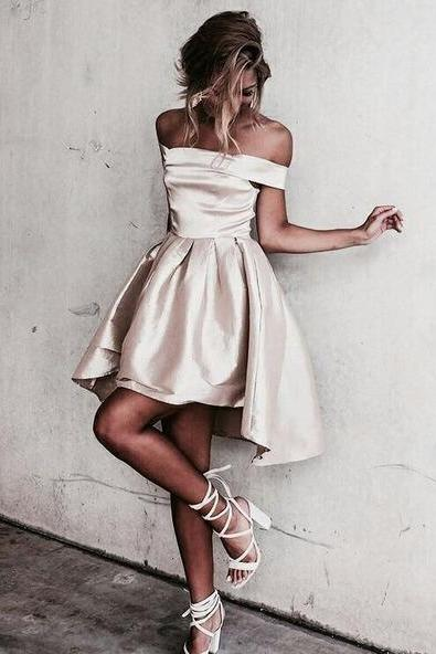 Off-the-shoulder Popular Homecoming Dresses, Short Party Dress,Mini Cheap Homecoming Dress