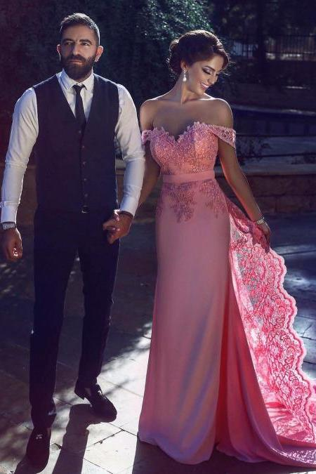 Prom Gown,Pink Prom Dresses,Evening Gowns,Pink Prom Dresses,Tulle Evening Gowns,Lace Prom Gown