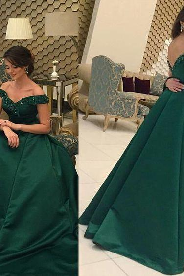 Green Prom Dresses,off the shoulder Prom Dress,Sexy Prom Dress,Hunter Green Prom Dresses,Formal Gown,Lace Evening Gowns,Prom Gown For Teens