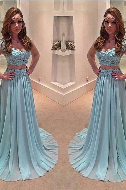 Light Blue Prom Dress,Prom Gown,Prom Dresses,Chiffion Evening Gowns,Evening Gown