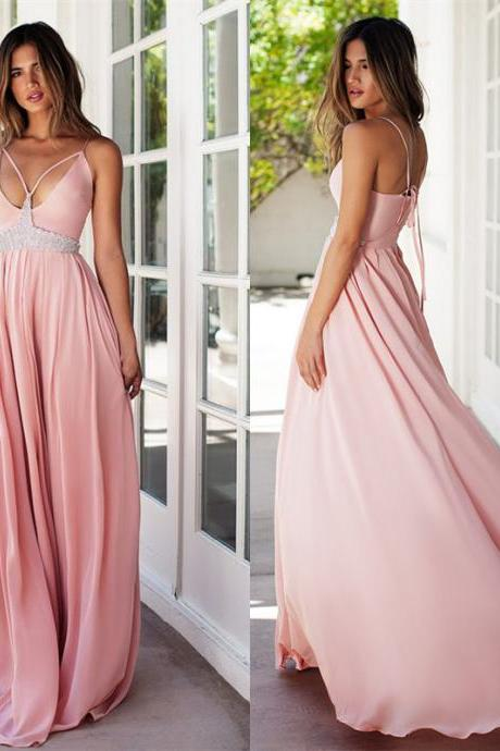 Blush Pink Prom Dresses,chiffon Prom Gowns,Pink Prom Dresses,Long Prom Gown,Sparkly Prom Dress,Sparkle Evening Gown,party Gown