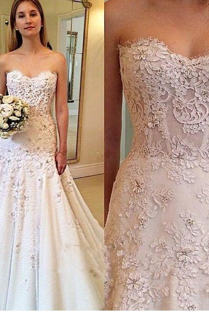 Floral Lace Appliques Sweetheart Floor Length Trumpet Wedding Dress