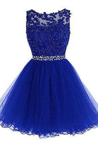 Royal Blue Homecoming Gowns,Homecoming Dress,Cute Homecoming Dress,Tulle Homecoming Dress,Short Prom Dress,Royal Blue Homecoming Gowns,Beaded Sweet 16 Dress