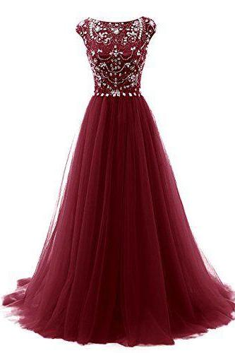 Gorgeous Beaded Burgundy Prom Dress, Tulle Pageant Gown, Formal Gown