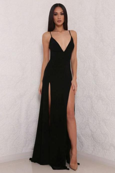 Black Prom Dresses,hot sexy spaghetti straps prom dress,split prom dress,long prom dress,slit side party dress