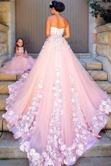 Modest wedding Dress,pink tulle wedding dresses, lace appliques wedding dress,ball gown Bridal dresses