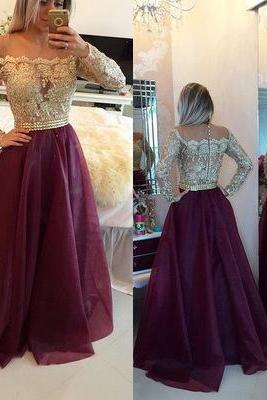 Burgundy Long Prom Dress,Floor Length Prom Dresses, Evening Gowns