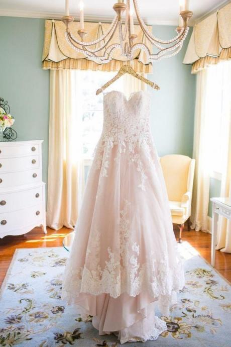 Blush Pink Wedding Gown,Princess Wedding Dresses,Wedding Dress with Lace brides dress,Wedding Dresses