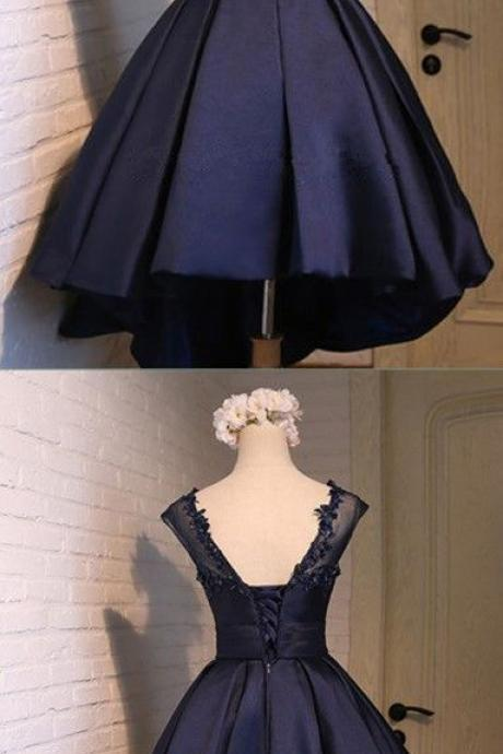 Short Ball Gown Navy Blue Homecoming Dress, satin homecoming dresses, sweet 16 birthday party gowns