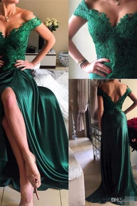 Off the shoulder Lace Prom Dress,Long Hunter Green Slit Lace Evening Dress,Modest Formal Dress,Sexy Prom Gowns,