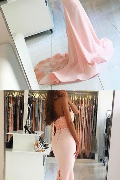 Sexy Evening Gowns,Mermaid Pink Prom Dress, Pageant Prom Gown, Evening Gowns with Sweep Train