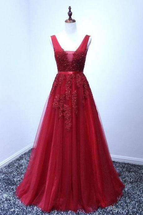 Red Lace Applique With Tulle Prom Gowns, Red Prom Gowns, Red Prom Dresses, Evening Dresses, Red Formal Dresses